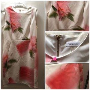 Sleeveless Calvin Klein white/pink/green dress